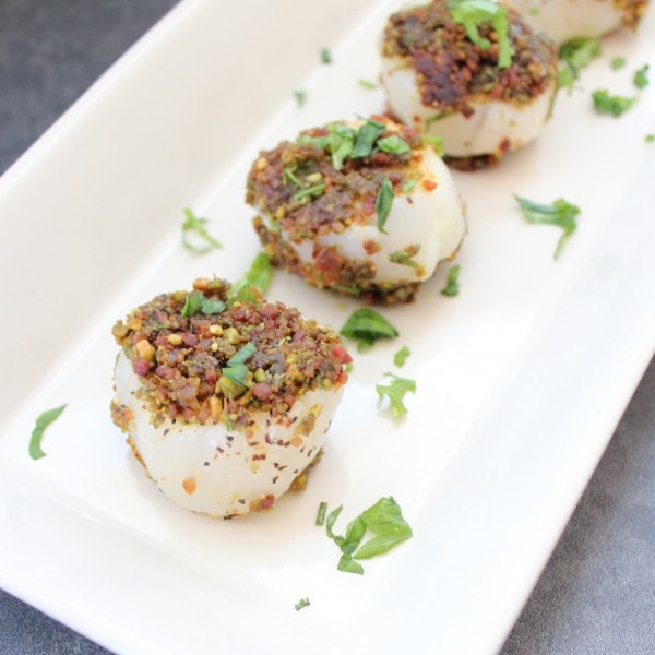 Bacon Herb Crusted Scallops