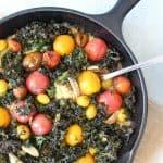 Roasted Tomato and Kale Polenta Skillet