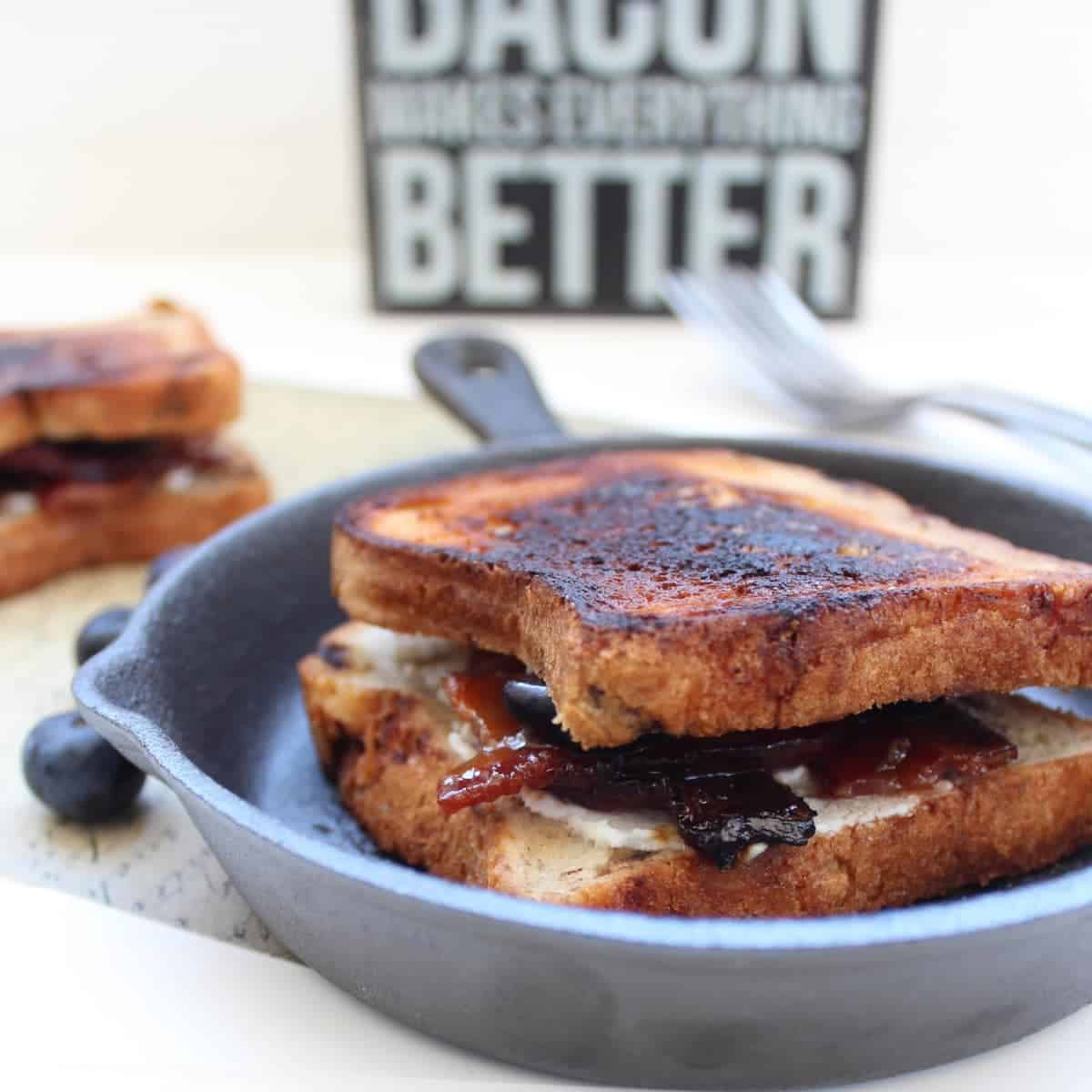 Candied Bacon Goat Cheese Blueberry Grilled Cheese