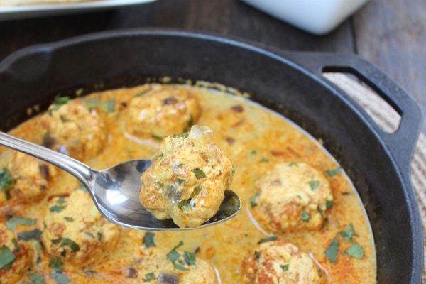 Chicken Curry Meatballs in Vindaloo Sauce