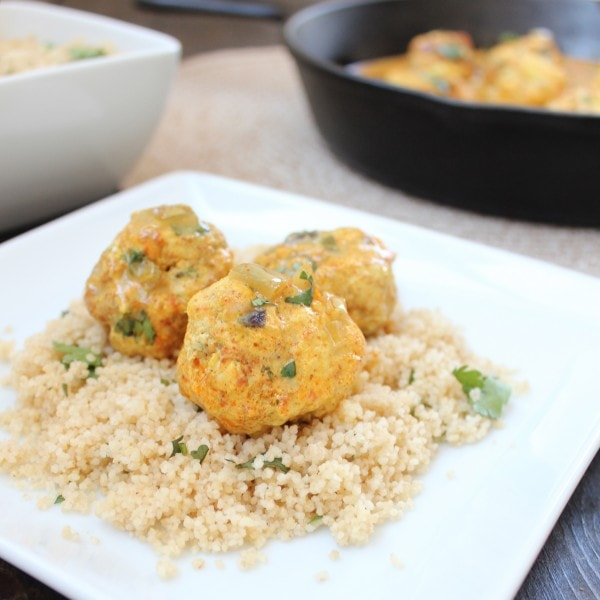 Chicken Curry Meatballs over Cilantro Couscous