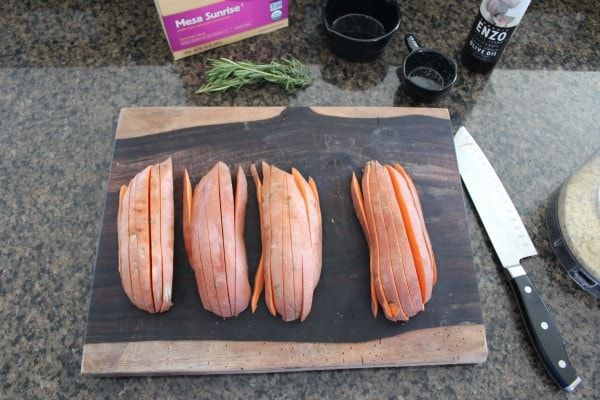 ... sweet potatoes that are long and skinny, easier for slicing into fries