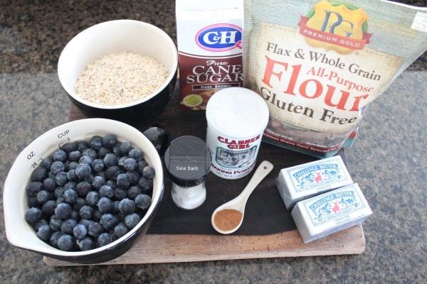 Gluten Free Blueberry Oat Bar Ingredients