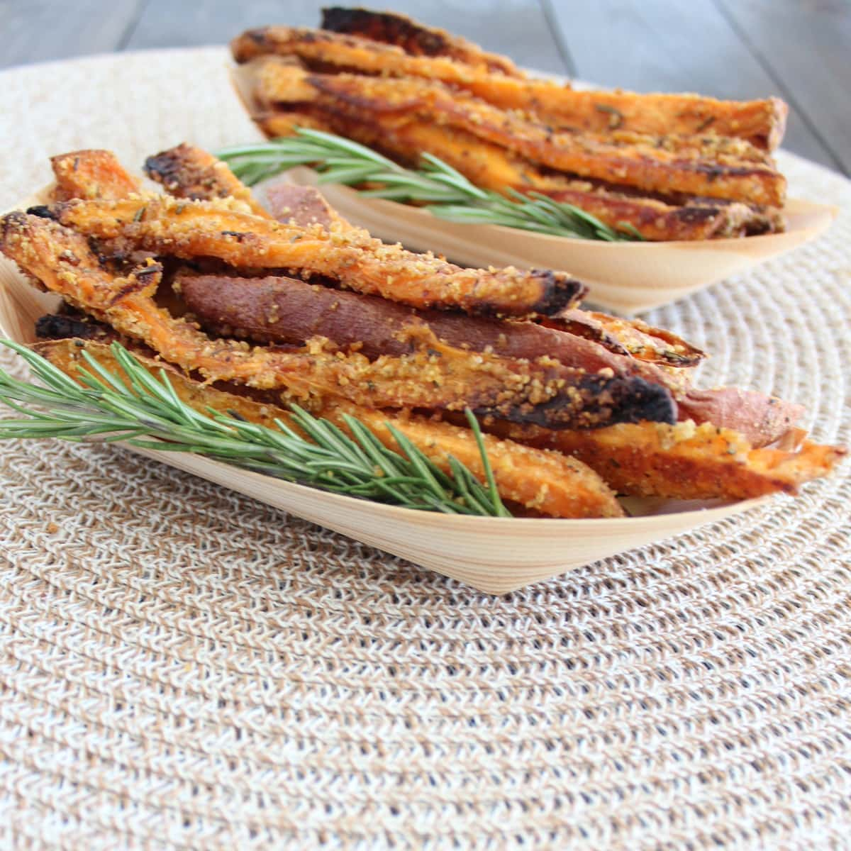 crispy baked sweet potato fries are crusted in crispy cereal, parmesan ...