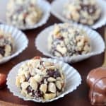Chocolate bonbons rolled in chopped hazelnuts
