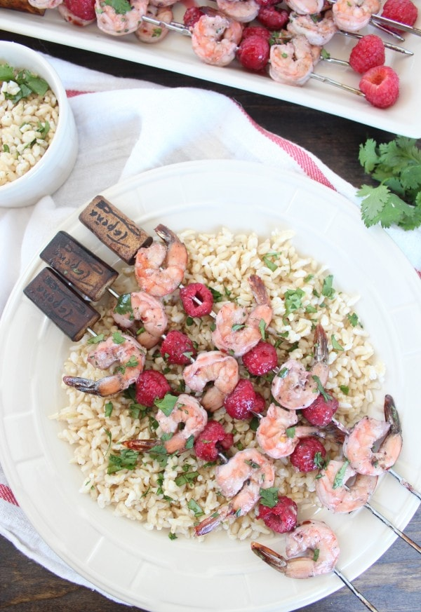 Raspberry Lime Shrimp Skewers