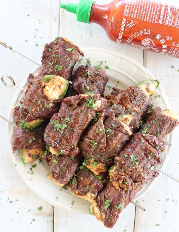 Sriracha Steak Wrapped Jalapeño Poppers