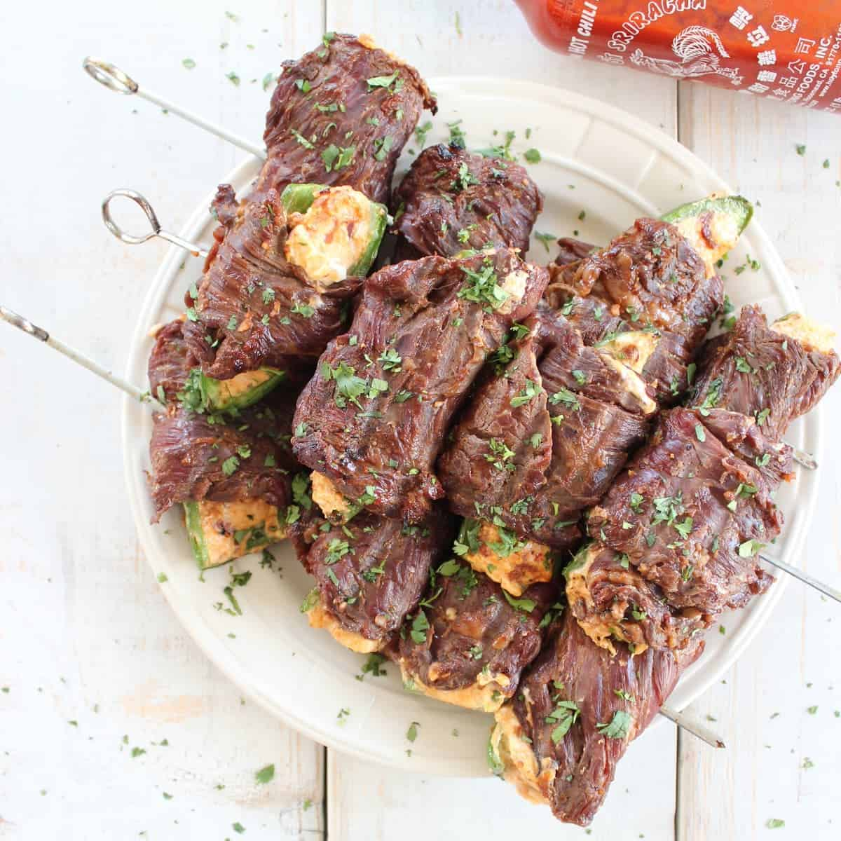 Sriracha Steak Wrapped Jalapeño Popper Skewers