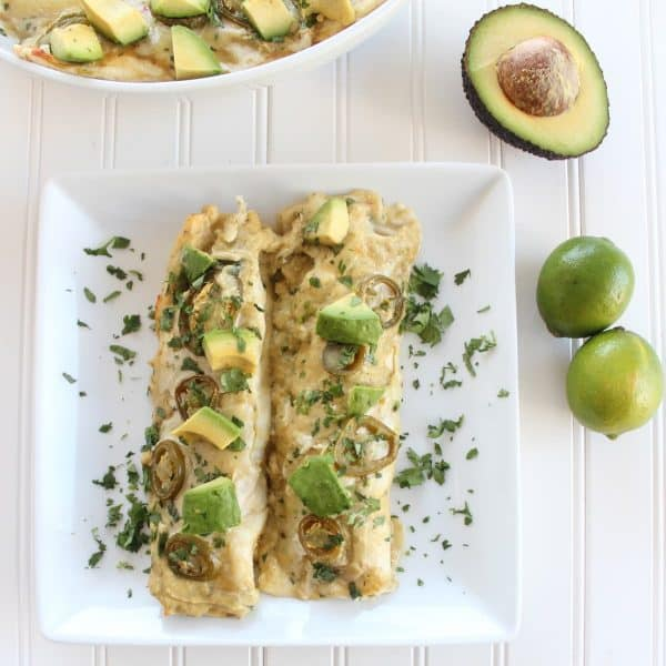 Chicken Enchilada Recipe with Creamy Avocado Sriracha Sauce