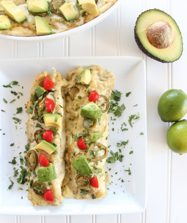 Chicken Enchilada Recipe with Avocado Sriracha Sauce