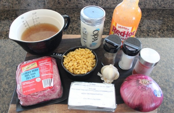 Buffalo Cheeseburger Macaroni Ingredients