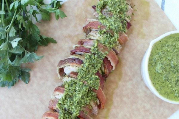 Bacon Wrapped Chimichurri Pork Tenderloin