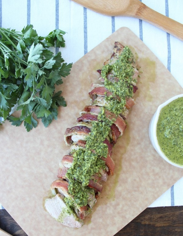 Chimichurri Bacon Wrapped Pork Tenderloin