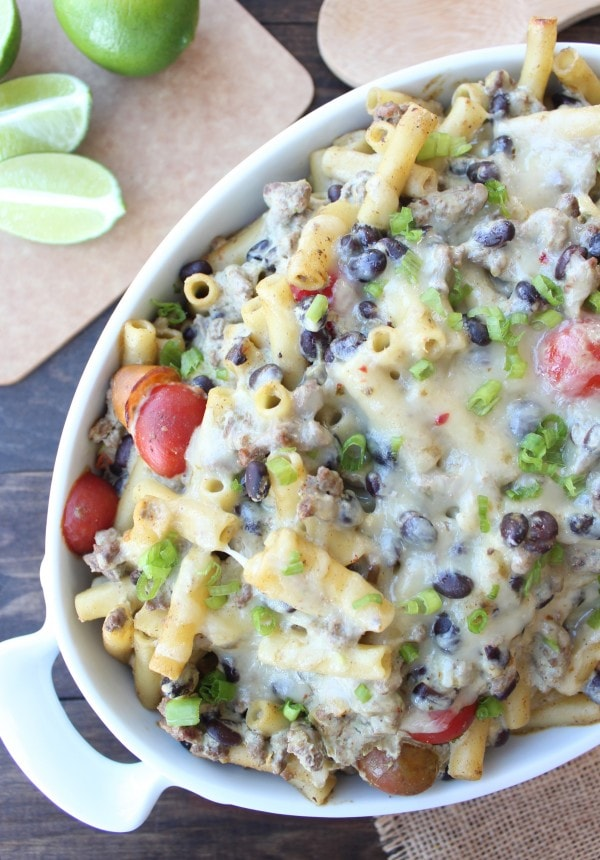 Taco Baked Ziti with Creamy Avocado Sauce