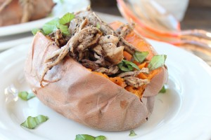 Coffee Balsamic Pulled Pork Tenderloin Stuffed Sweet Potatoes