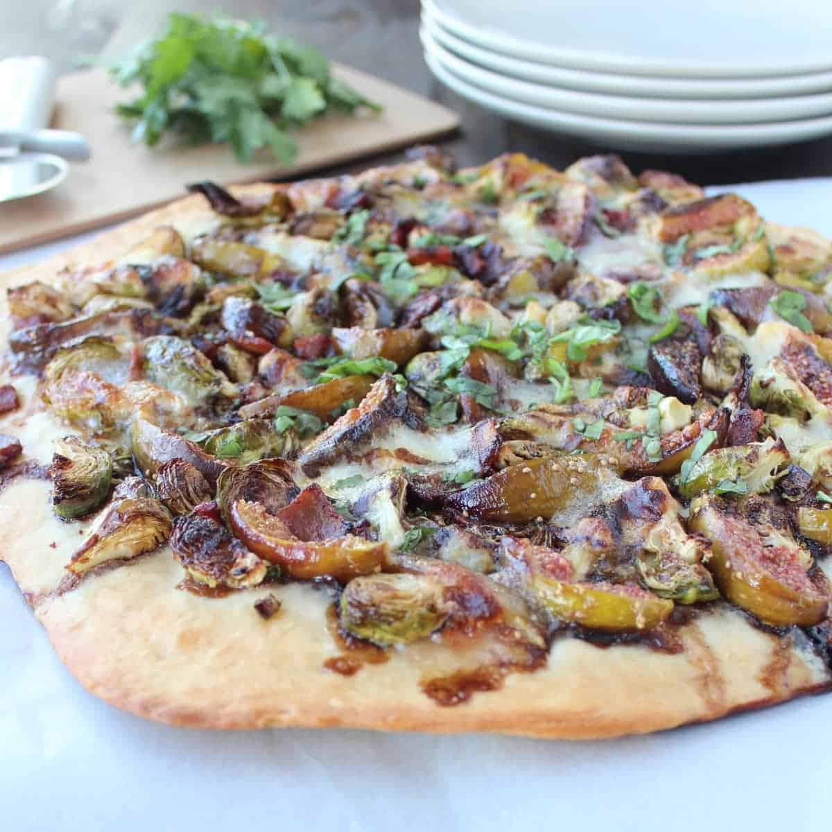 Honey Fig and Bacon Brussel Sprouts Pizza