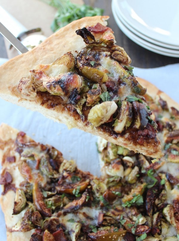 Honey Fig Bacon Brussel Sprouts Pizza