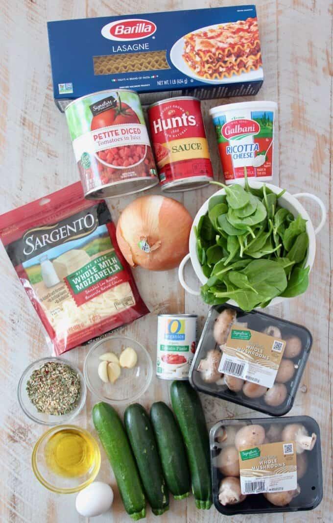 overhead image of ingredients for vegetarian lasagna