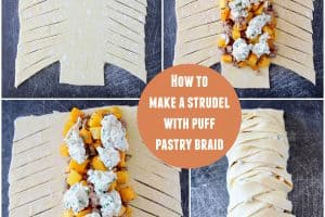Instructional images for how to make a puff pastry braid
