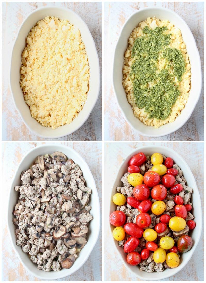Ground turkey casserole instructional images