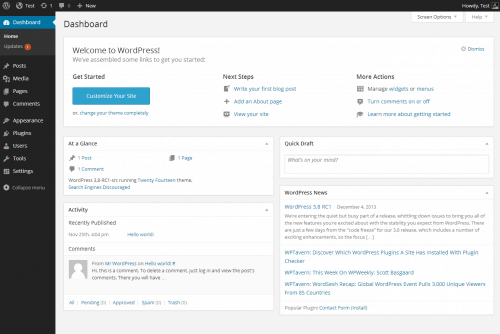 Wordpress.org Dashboard Screenshot