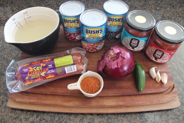 Three Bean Soyrizo Vegan Chili Ingredients