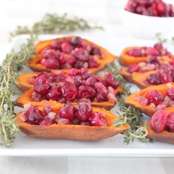 Gluten Free Cranberry Pancetta Sweet Potato Skins