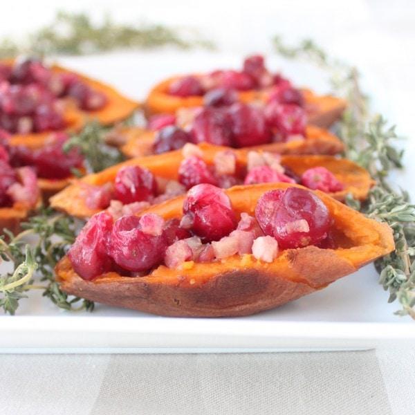 Cranberry Pancetta Sweet Potato Skins