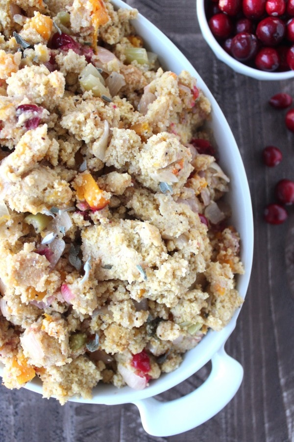 Gluten Free Butternut Squash Cranberry Cornbread Stuffing