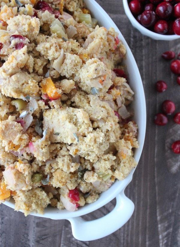 Gluten Free Cranberry Sage Cornbread Stuffing