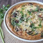 Mushroom Spinach Turkey Quiche with Stuffing Crust