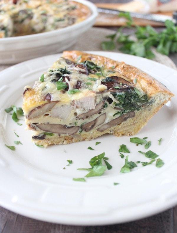 Mushroom Turkey Quiche with Stuffing Crust Recipe - WhitneyBond.com
