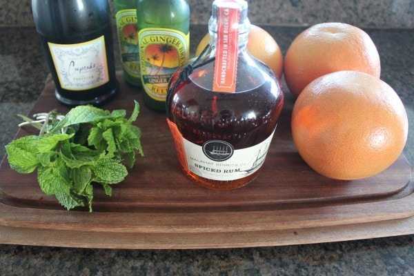 Grapefruit Ginger Spiced Rum Punch Ingredients