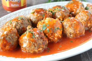 Slow Cooked Buffalo Cheesy Sausage Balls