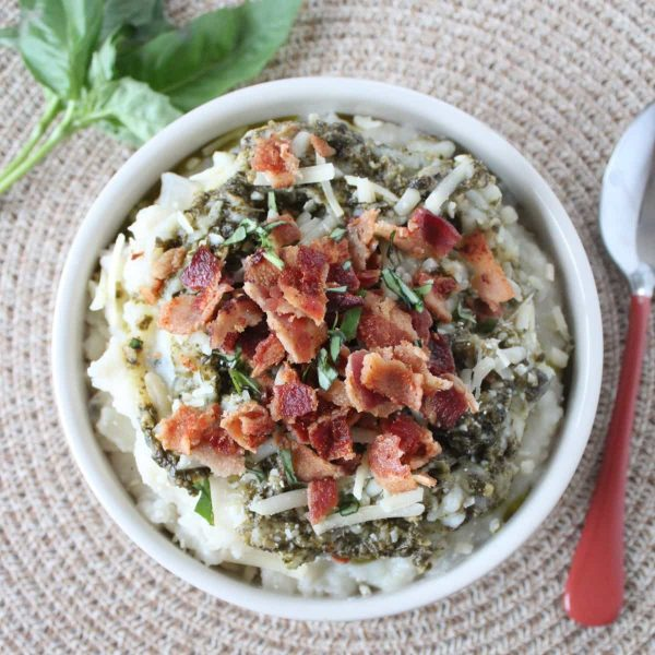 Basil Pesto & Bacon Mashed Potato Soup