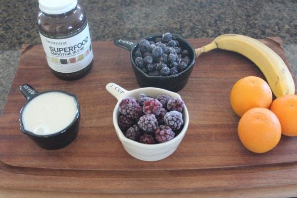 Orange Berry Immunity Boosting Smoothie Ingredients