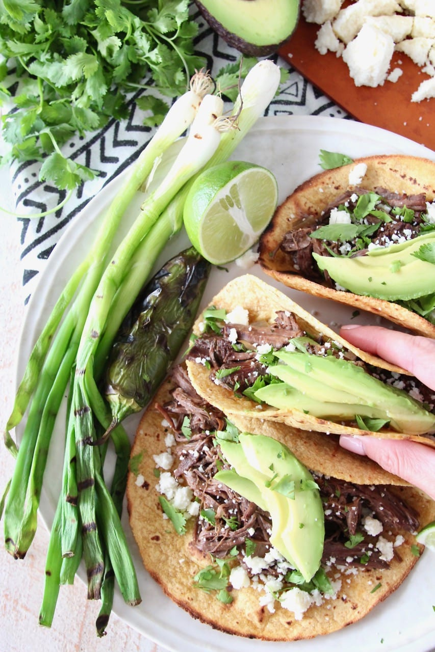 Slow Cooker Beef Barbacoa Tacos on Corn Tortillas with Sliced Avocado and Cotija Cheese