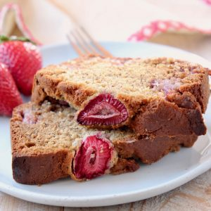 Slices of strawberry banana bread on top of each other