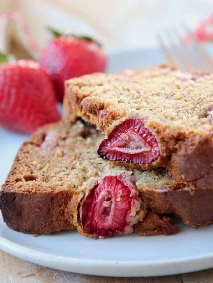 Slices of gluten free banana bread on plate