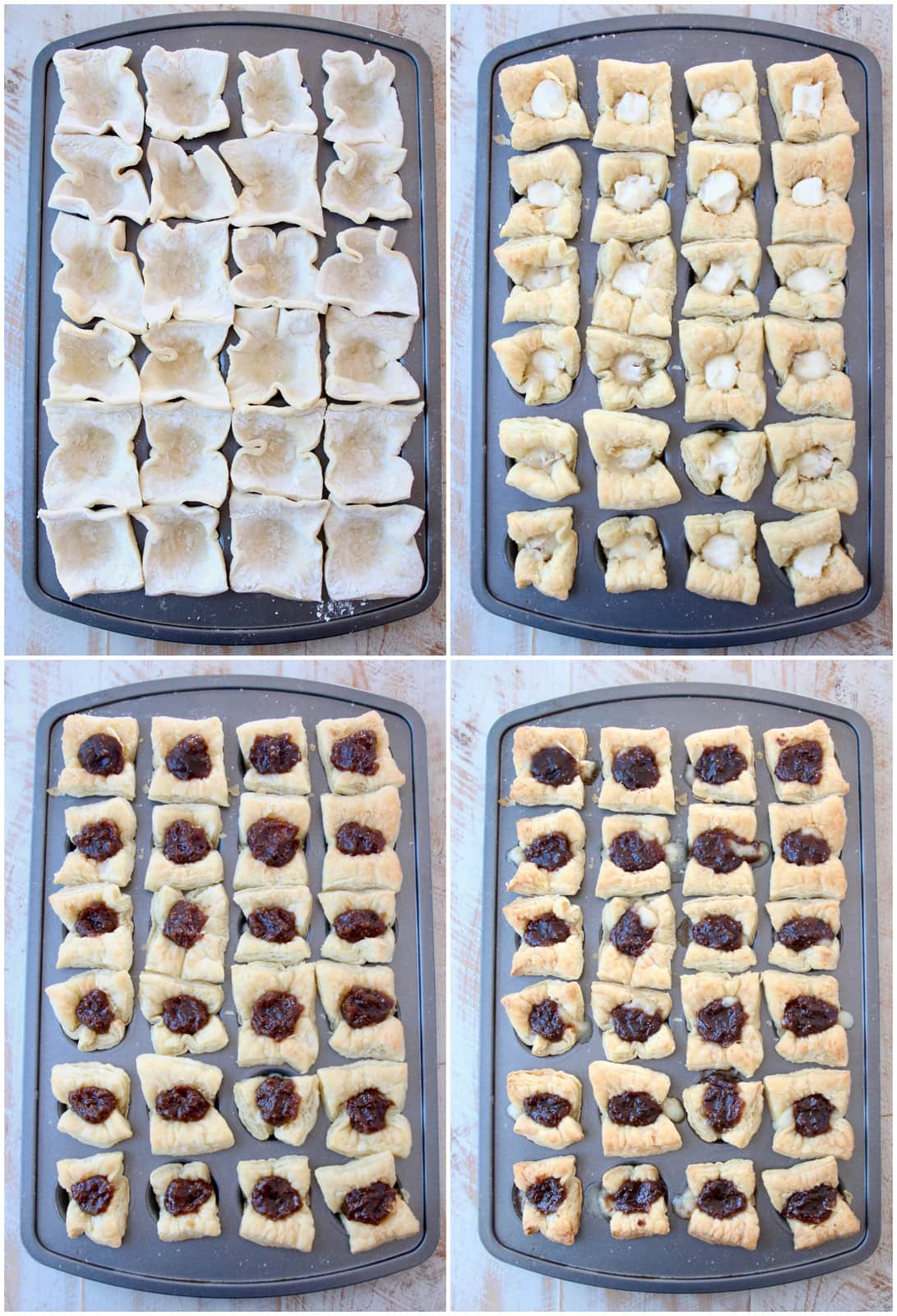 Instructional images for how to make baked brie puff pastry bites
