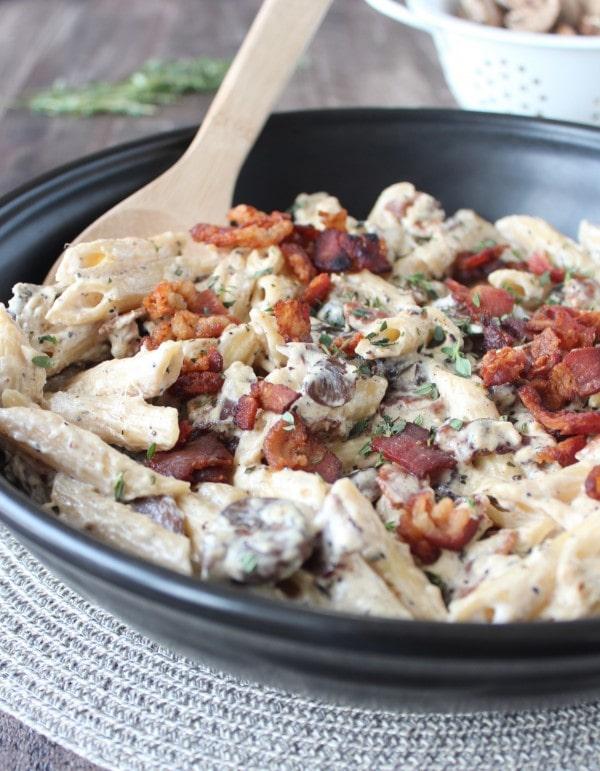 Mushroom Bacon Cheesy Pasta Recipe