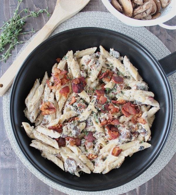 Bacon Mushroom Cheesy Pasta Recipe