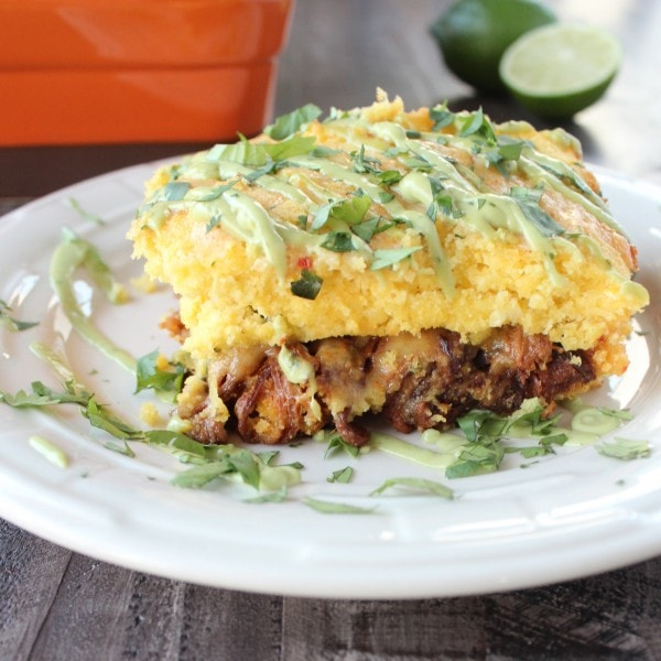 Chipotle Honey Pulled Pork Tamale Casserole