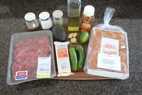 Roasted Jalapeño Honey Carne Asada Sliders Ingredients