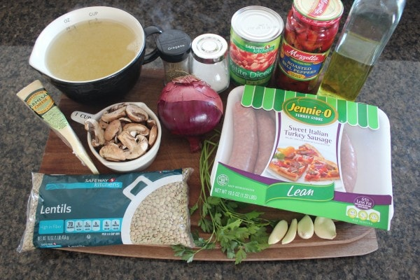 One Pot Mediterranean Sausage & Lentils Ingredients