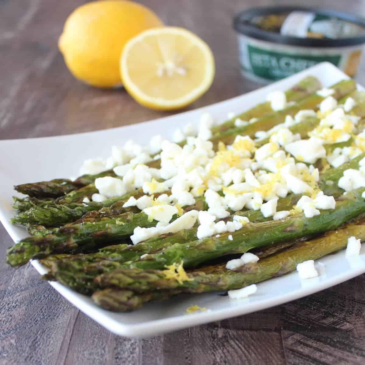 Garlic Lemon Grilled Asparagus with Feta Cheese