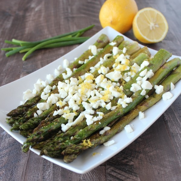 Lemon Grilled Asparagus with Feta Cheese