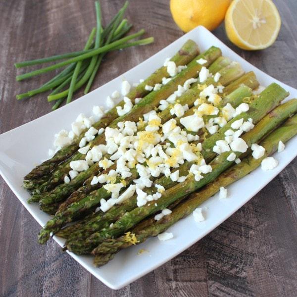 Lemon Garlic Asparagus with Feta Cheese
