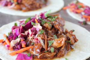 Slow Cooked Korean BBQ Chicken Tacos with Asian Slaw