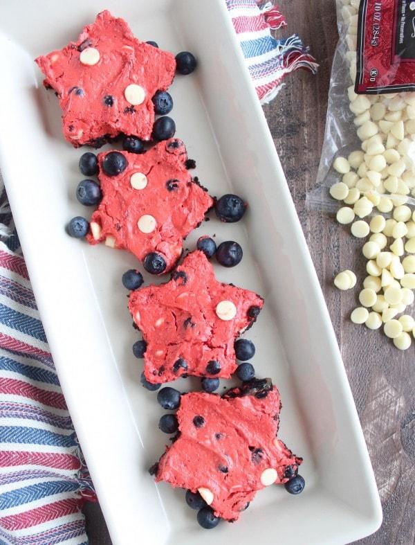 White Chocolate Chip Blueberry Red Velvet Cheesecake Bars